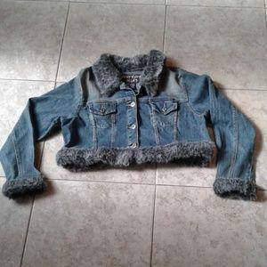Cropped Fur Lined Denim Jacket 1X
